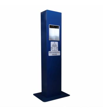 Bezdotykowy automatyczny dozownik do płynu dezynfekcyjnego stojący niebieski zasilanie bateryjne DZ01BN